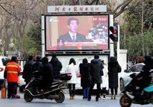 河南日报报业集团100多块户外大屏同步直播省十三届人大二次会议开幕会