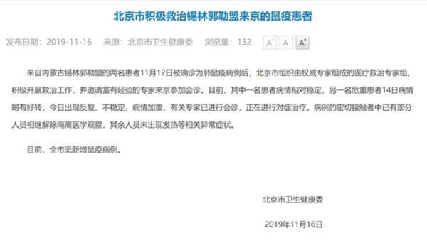 北京鼠疫新动态:一名感染者病情稳定另一名病情所有加重