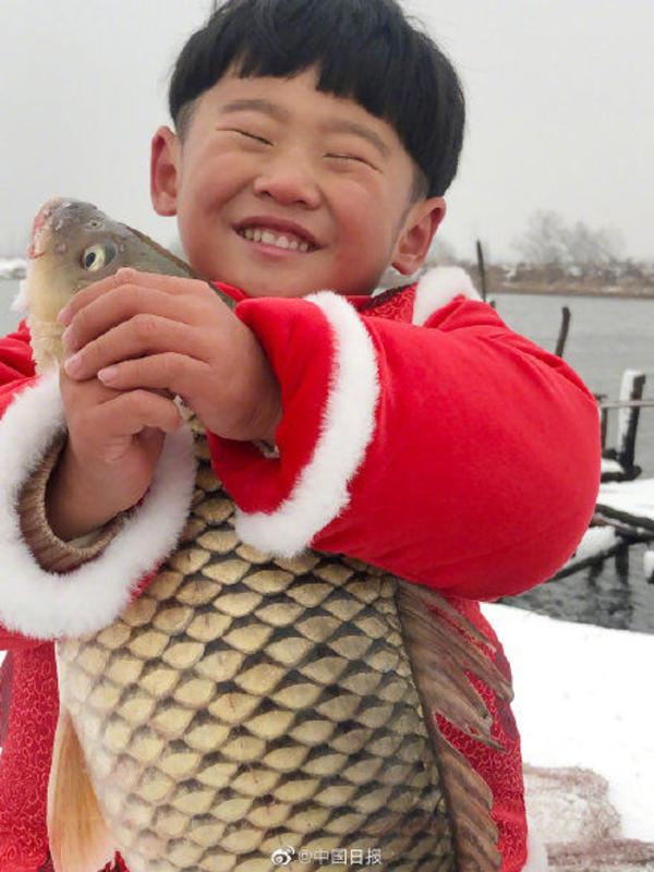 萌翻啦!转发这个河南男孩捧鱼年画的开运壁纸,愿你年年有余