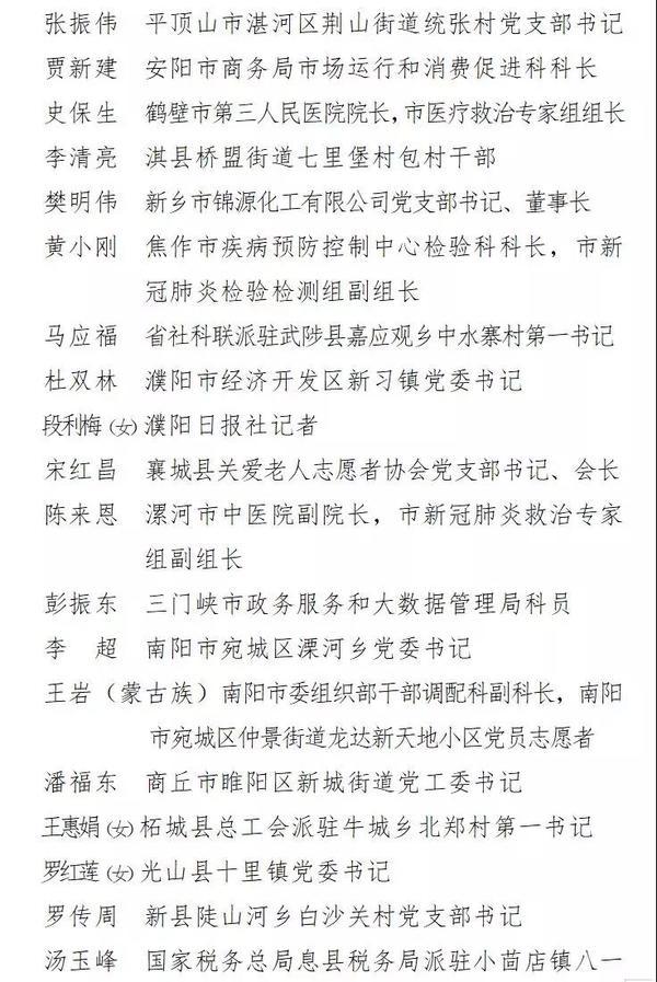 省委組織部通報表揚第四批在疫情防控中表現突出的共產黨員