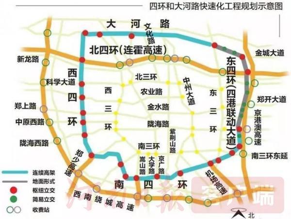 郑州四环线及大河路快速化工程全线完整闭合,4月30日试通车