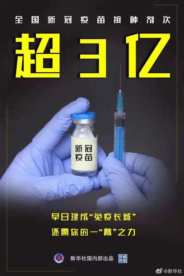 全國新冠疫苗接種超3億劑次